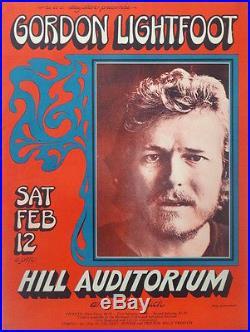 GORDON LIGHTFOOT ANN ARBOR 1972 concert poster GARY GRIMSHAW ULTRA RARE