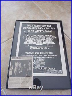 Guns N Roses Rare Original 1986 4-5-86 WHISKY A GOGO Concert Poster Ad Framed