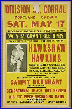 HAWKSHAW HAWKINS Grand Ole Opry Orig 1958 Cardboard Boxing Style Concert Poster