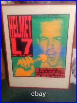 HELMET L7 1992 Frank Kozik Concert Poster Professionally Framed Rare 268/500