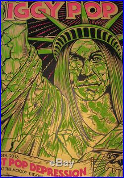 IGGY POP 2016 Moody Austin TX One of a Kind Gold Test Print Concert Poster 1/1