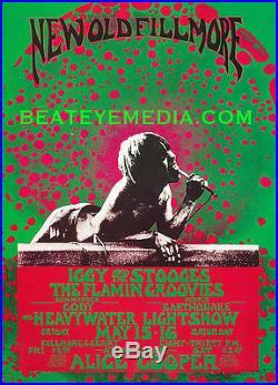 IGGY POP-THE STOOGES-PUNK ROCK-PUNK-Concert Poster-Fillmore-RAMONES-Bill Graham