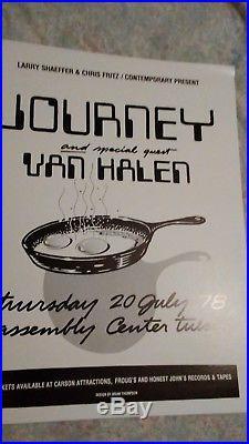 JOURNEY VAN HALEN 1978 concert poster Tulsa OK ORIGINAL MINT