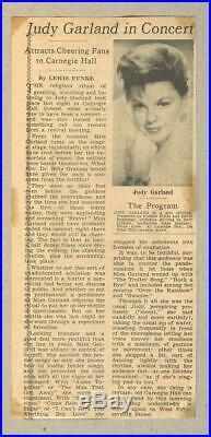 JUDY GARLAND original concert TICKET STUB Carnegie Hall April 23, 1961