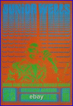 JUNIOR WELLS NEON ROSE NR1 1966 concert poster VICTOR MOSCOSO signed MINT
