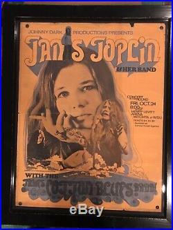 Janis Joplin 1969 Henry Levitt Arena Original Framed Concert Poster