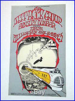 Jeff Beck, Zephyr 1969 Original Fillmore BG-168 Concert Poster