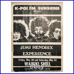 Jimi Hendrix Experience 1969 Waikiki Shell Honolulu Concert Poster (USA)