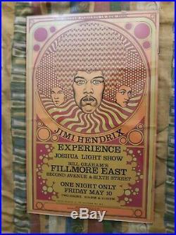 Jimi Hendrix Experience 1st Print 1968 Bill Graham Fillmore East Concert Poster