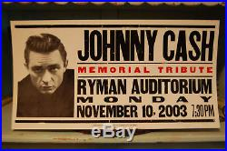 Johnny Cash 2003 Nashville Hatch Show Print Ryman Memorial Concert Poster Rare