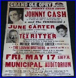 Johnny Cash June Carter Mother Maybelle Tex Ritter 1963 Original Concert Poster
