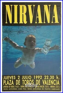 Kurt Cobain Nirvana 1992 Valencia Concert Poster (Spain)