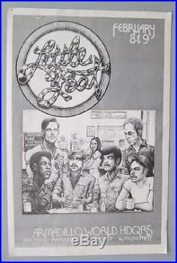 Little Feat Austin 1973 Original Concert Poster Armadillo Rare