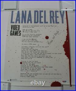 Lana Del Rey Signed Autograph Concert Tour Poster Video Games, Rare Psa