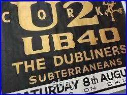 Large Very Rare U2 Joshua Tree Home Tour Concert Poster, Cork, Ireland, 1987