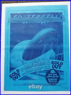 Led Zeppelin Concert Poster Randy Tuten Signed Oakland 1977 excellent condition