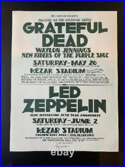 Led Zeppelin & Grateful Dead Concert Poster Randy Tuten Signed Kezar Stadium