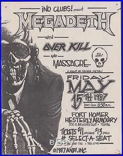 Megadeth Overkill Original Paper Concert Flyer Grey Pin Holes Thrash Metal