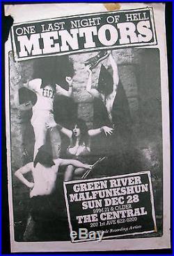 MENTORS Central SEATTLE 1986 CONCERT POSTER Green River MALFUNKSHUN Pearl Jam