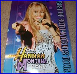 MILEY CYRUS SIGNED AUTOGRAPH HANNAH MONTANA 18x24 CONCERT POSTER withPROOF