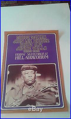 Muddy Waters John Lee Hooker Concert Poster Original 1971 Signed Rare Grimshaw