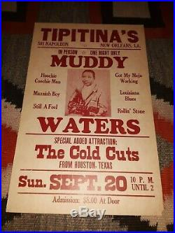 MUDDY WATERS at Tipitina's New Orleans Original Concert Poster 14 x 22 1981