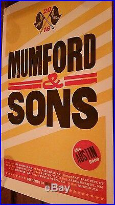 MUMFORD & SONS LETTERPRESS Print Concert Poster 2016 AUSTIN 5000 TOUR Show Delta