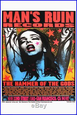 Man's Ruin Records 1996 The Hammer of The Gods Concert Poster By Frank Kozik S/N