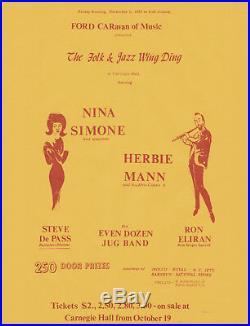NINA SIMONE Herbie Mann Original 1963 CARNEGIE HALL Concert Handbill / Flyer