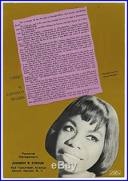 NINA SIMONE Original 1964 CARNEGIE HALL Concert Handbill / Flyer