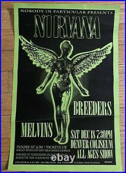 NIRVANA / MELVINS / BREEDERS 1993 original Concert Poster FLYER Denver Coliseum