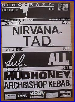 NIRVANA TAD MUDHONEY original belgian concert poster'89 democrazy