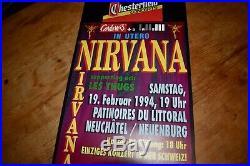 NIRVANA les thugs ORIGINAL Swiss Concert Poster 1994 NEUCHATEL
