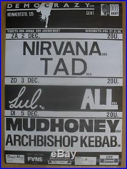 NIRVANA original vintage belgian concert poster 1989 democrazy mudhoney tad