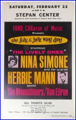 Nina SIMONE & Herbie MANN (Jazz) Original 1964 Concert Poster