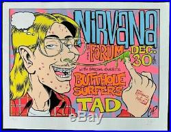 Nirvana Concert POSTER Butthole Surfers Tad Original Promo Signed by Coop Rare