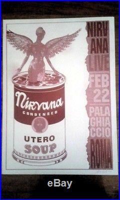 Nirvana Concert Poster 1994 Rome Original Metal Print Plate Red Aor Bg Cobain