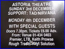 Nirvana, Mudhoney, Tad Original Concert Poster Uk December 1989