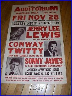 ORIGINAL RARE! JERRY LEE LEWIS CONCERT POSTER CA. 1960s 14 x 22