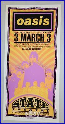 Oasis Detroit MI 1996 Original Concert Poster Arminski Silkscreen