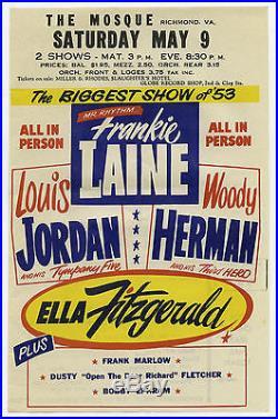 Original 1953 ELLA FITZGERALD LOUIS JORDAN Concert Handbill / Flyer WOW