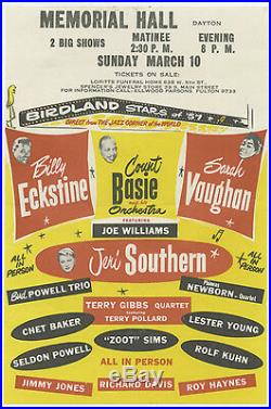 Original 1957 CHET BAKER Sarah Vaughan COUNT BASIE + more Concert Handbill Flyer
