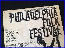 Original 1962 Philadelphia Folk Festival Concert Poster Very RARE