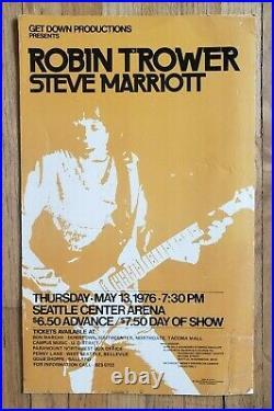 Original (1976) ROBIN TROWER Procol Harum Seattle Cardboard Concert POSTER