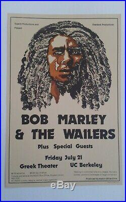Original Bob Marley Concert Poster from 1970s UC Berkeley Fillmore Era