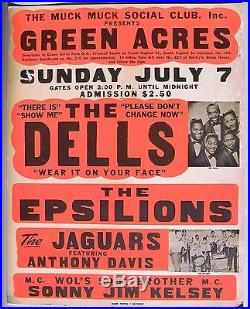 Original Boxing Style Doo Wop Concert Poster The Dells, Epsilons, Jaguars, 1968