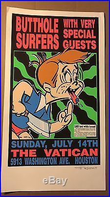 Original Butthole Surfers LSD Vatican Signed Kozik 91 concert POSTER SilkScreen