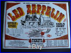 Original Led Zeppelin Concert Used poster 1975 at London's Earls Court May 23-25