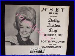 Original/MEGA-RARE 1967 DOLLY PARTON CONCERT POSTER with Porter Wagoner