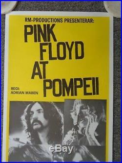 Original Pink Floyd Live At Pompeii Swedish Movie Concert Poster Insert